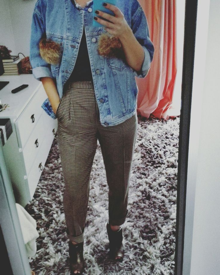 High waisted trousers and denim jacket