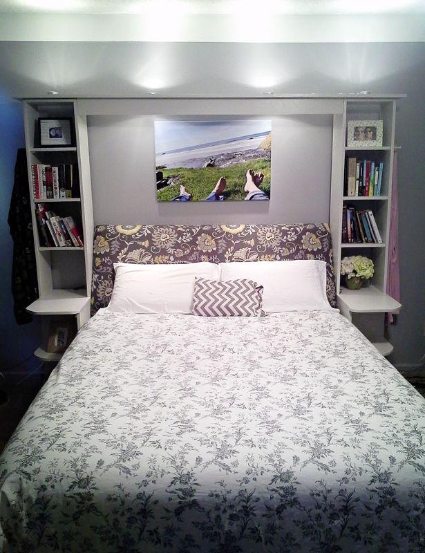 Angled Headboard Shelving Accent Lights Master Bedroom Bookshelf Headboard Headboard With