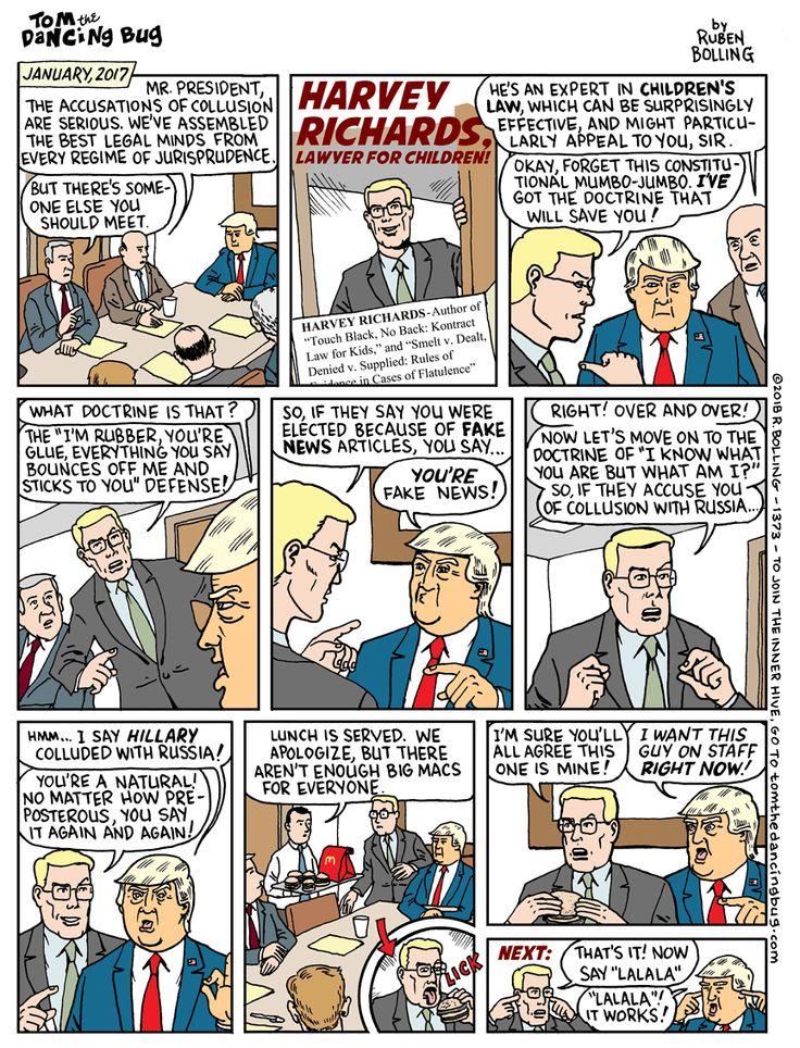 Cartoon Trump's new lawyer Harvey Richards, Lawyer for