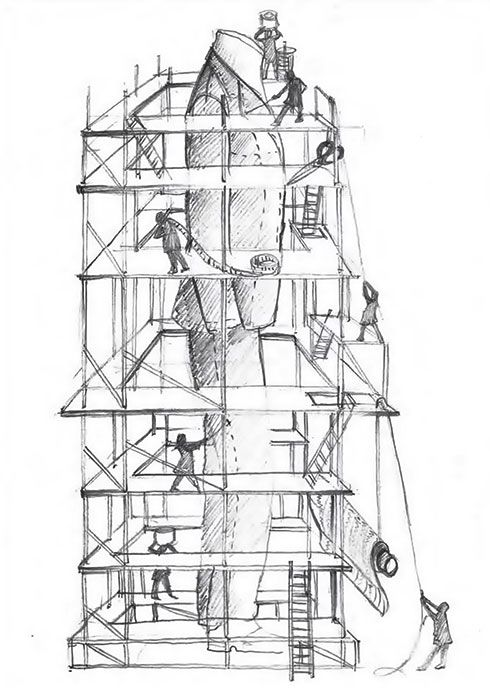 A scaffolding protects the masterpiece and  emphasise its magnificence #ledizione #features #mtm #canali1934