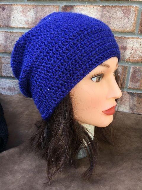 Dark Blue Crocheted Beanie