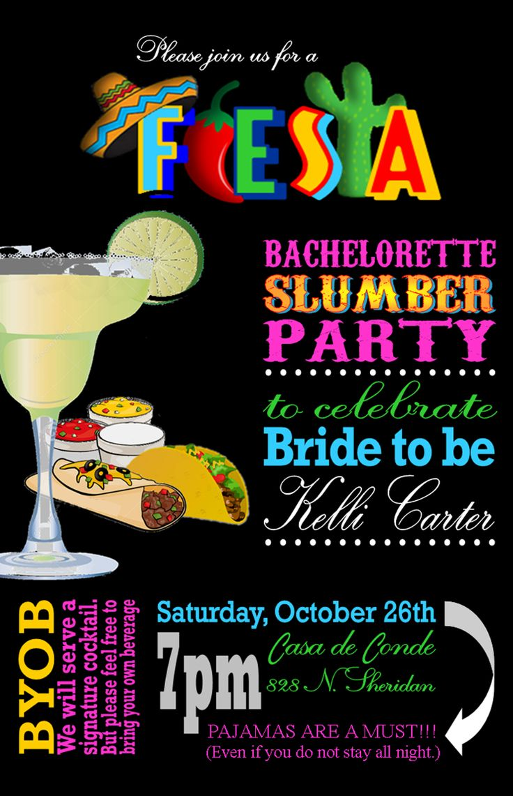 Fiesta Bachelorette Slumber Party Invitation