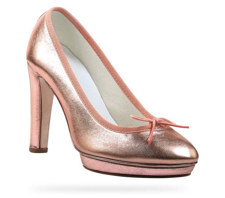 Ballerine à talon Tess Or rose Agneau