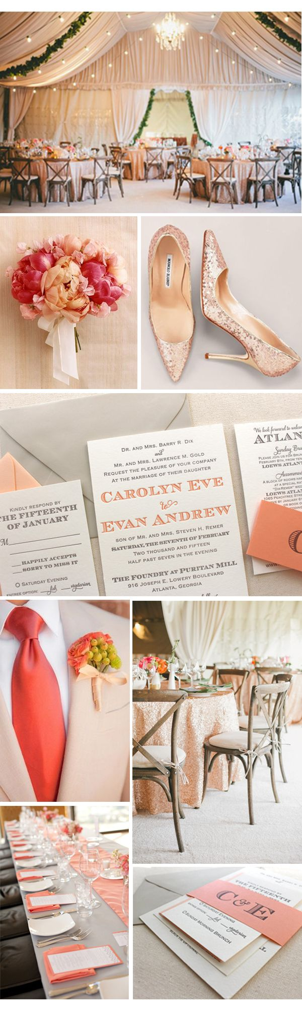 Laurel suite whimsical modern letterpress wedding invitation - coral, grey, bold, modern, pink, fuchsia, blush, peach, orange, glitter, gold, tan, glamour, chandelier, rustic, color trends, chic, beach, stunning.
