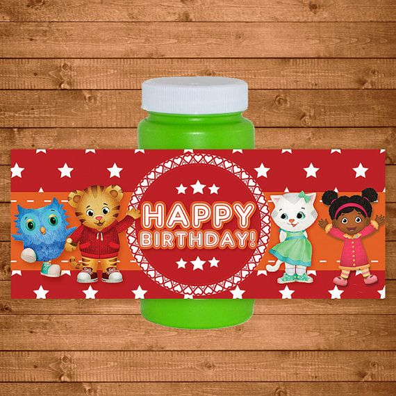 Daniel Tiger Bubble Labels Red Stars  Daniel by NineLivesNotEnough
