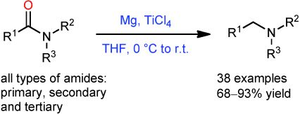 Low-valent titanium readily prepared in situ from TiCl4 and Mg powder in THF is found to be an active agent for the reduction of amides which were previously considered to be inert towards low-valent titanium.