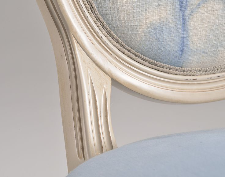 Beautiful detail. Luigi XVI chair by Venetasedie. Made in Italy design, softly fabrics, fine colors, pure wood.A modern shabby chic style.
