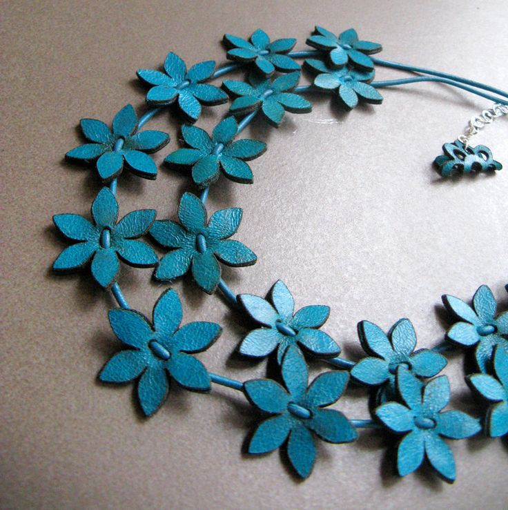Image detail for -Turquoise Leather Flowers Necklace by eninaj on Etsy