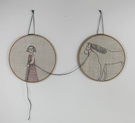 hand embroidery hoop art  girl and her horse by MarysGranddaughter, $275.00
