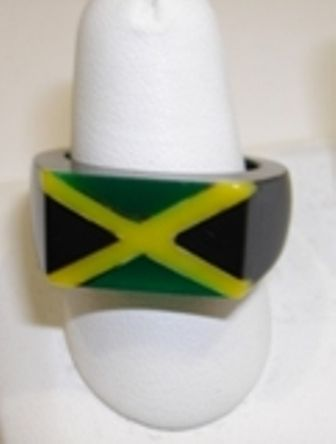 Acrylic Jamaica Flag ring; comes in various sizes ranging from Small, Medium and Large.