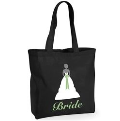 Personalised Tote Bag for the Bride! This tote bag is stylish and functional. Black bag with a stunning white bride illustration on the front - keep all your essentials for your big day inside. Available from WowWee.ie: €20.00