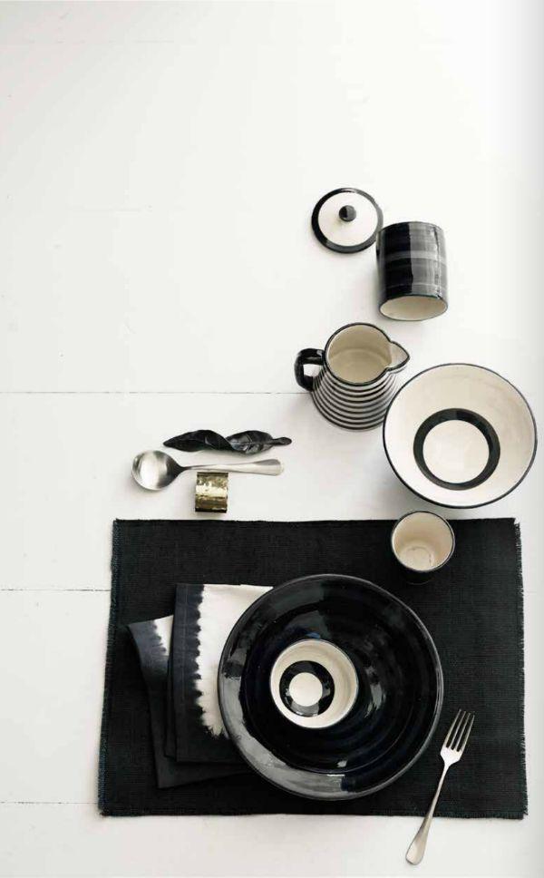 I love these black & white dishes!!! (Sanctuary blog)