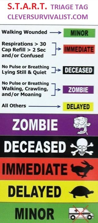 ER triage chart | START Triage System, Mass Emergency Trauma & First Responders Zombie ...