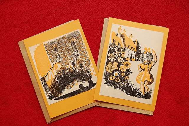 I bought a kids book from 60s from an op shop, and made these cards last night. I really love these illustrations!     see all children movies here click to see