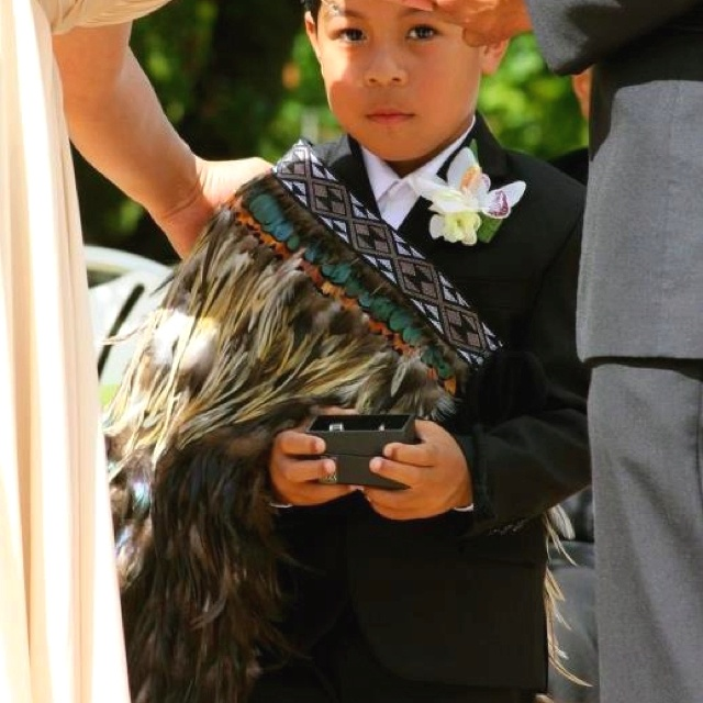 Picture perfect, my nephew ring bearer wearing contemporary korowai made by my hands :)