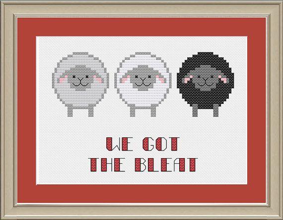We got the bleat: funny sheep cross-stitch by nerdylittlestitcher
