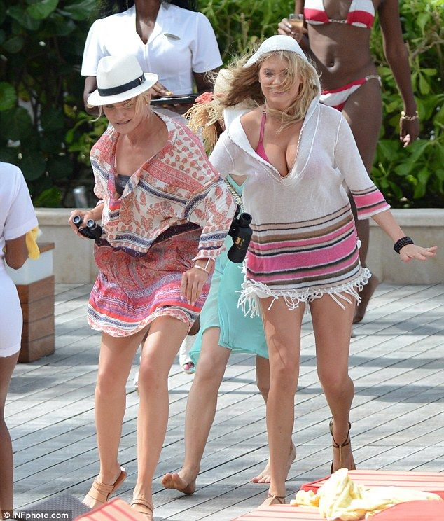 Sexy sprint: Cameron Diaz, Kate Upton and Leslie Mann run across the pool deck while filming The Other Woman in the Bahamas on Friday