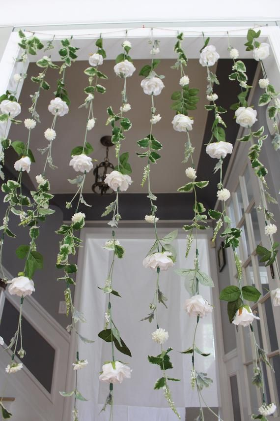 White Flower Garland Wedding Ceremony Backdrop Hanging Flower Backdrop Wedding Flower Garland White Wedding Garland Wedding Flower Wall In 2020 With Images Flower Backdrop Wedding Flower Wall Wedding Hanging Flowers Wedding
