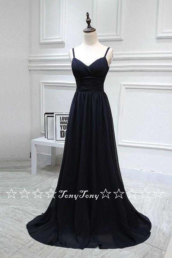 Black Chiffon Simple Prom Dresses,Long Bridesmaid Dresses,Spaghetti Strp Wedding Party Dresses