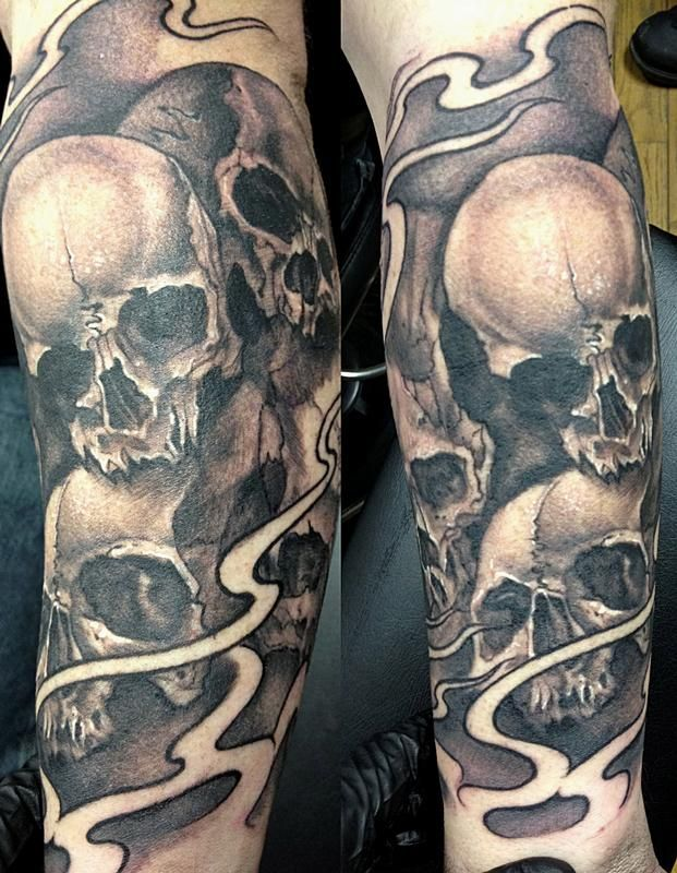 black and gray skull sleeve by Mike Boissoneault: TattooNOW :