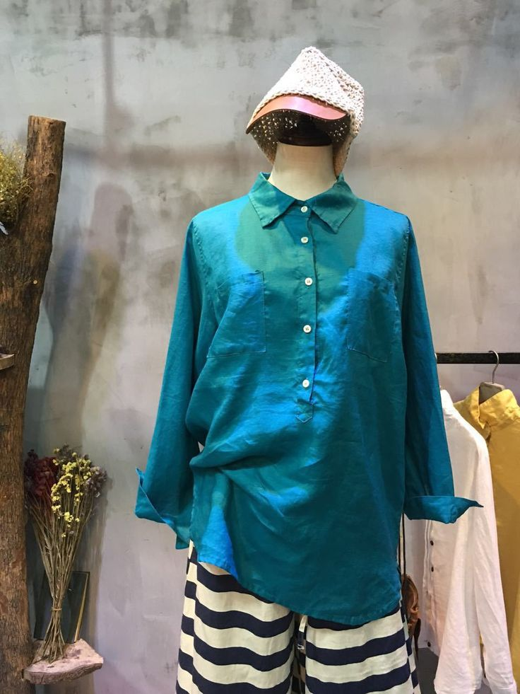 New Arrival Chest Pockets Plain Linen Blouse Casual Cheap Blouse  #blouse #blue #linen #plain #shirt #natural #flax #clothing #causal #cheap #wholesale #top