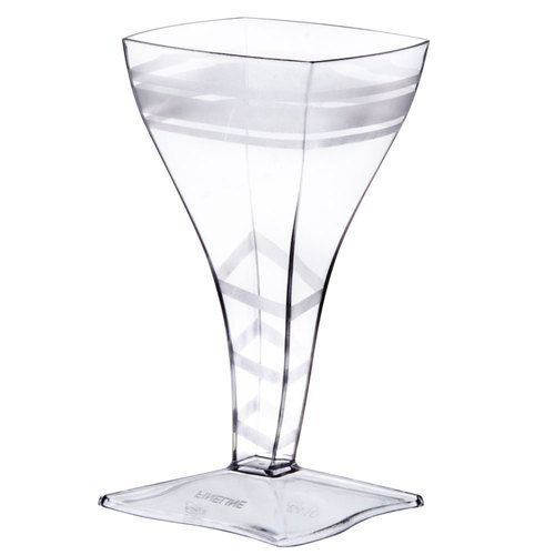 Fineline Tiny Temptations 64010CL 2 oz. Tiny Barware Clear Plastic Square Wine Glass - 96 / Case