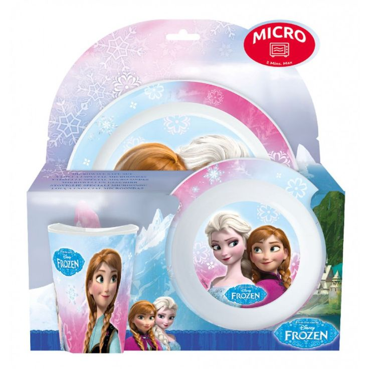 Disney Frozen Microwave Safe Dinner Set ~ Been looking for ages for plastic kids dinner plates that are a decent size! And Kyrie will love it :) On layby for Kyries 4th birthday present