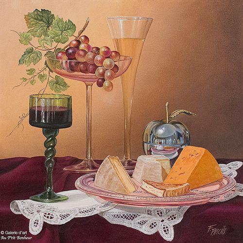 Françoise Pascals, 'Rouge ou blanc?', 16'' x 16'' | Galerie d'art - Au P'tit Bonheur - Art Gallery