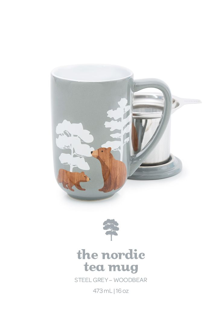Take a sip on the wild side with this adorable bear-printed mug in steel grey.