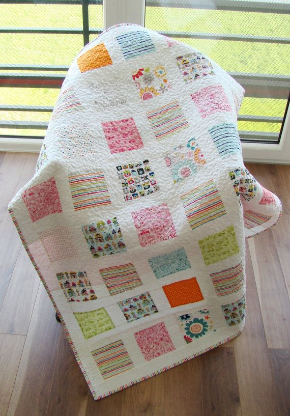 Modern Baby Quilt. Kid Quilt. Toddler Quilt. Child Quilt. Boy and Girl Quilt.  Ready to ship. Reversible.