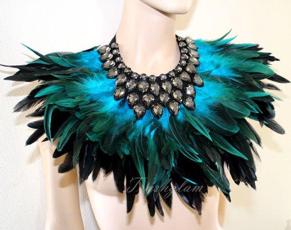 Turquoise feathered rhinestones neck collar shoulder wrap statement piece high…