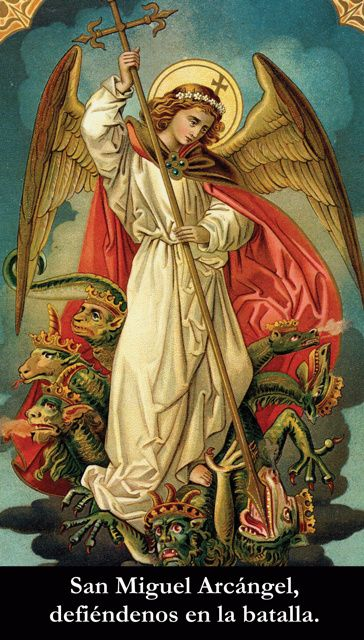 Catholic holy card. St. Michael slaying the dragon..or is it the Frog Prince? http://catholicism.about.com/od/prayers/qt/Saint_Michael.htm