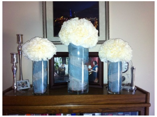 Neat idea for filling glass vases tulle stacey risk