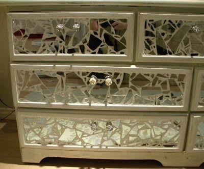 Broken Mirror Art Ideas | Broken Mirror Dresser*. Really be great for uneven surfaces.