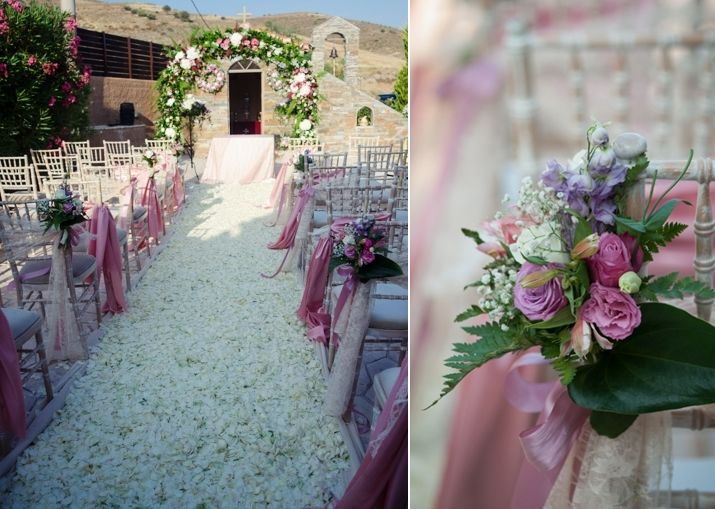 The most romantic wedding ceremony with rose petals all over the aisle runner! Cleopatra's Weddings - wedding planner in Greece
