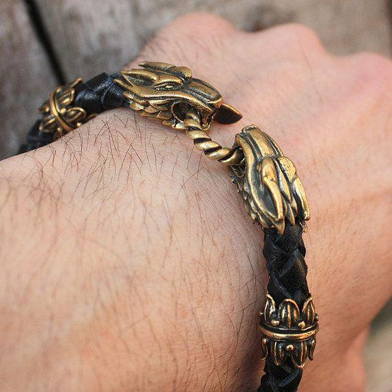 Têtes de loup de bronze à la main tressé Bracelet en par MAGICrebEL