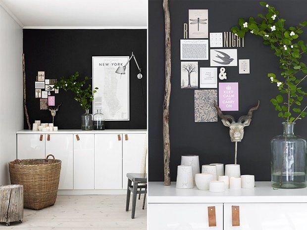Svart vegg og skjenk av kjøkkenskap