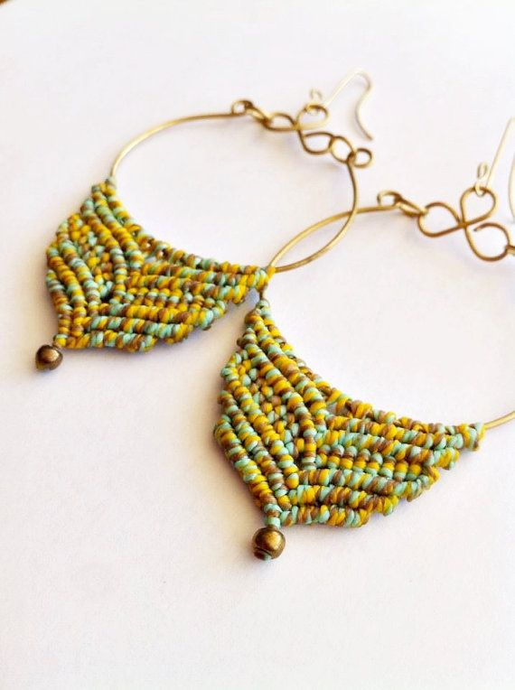 macrame earrings macrame hoops macrame von PositivaJewelry auf Etsy