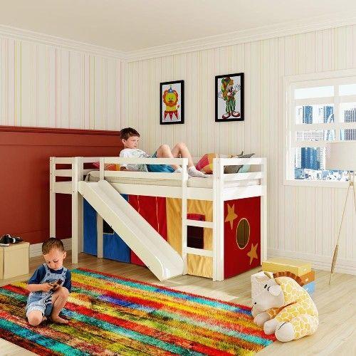 Cama com Escorregador Infantil e Telhadinho II com Janela - Tenda Castelo Azul - Casatema - CasaTema