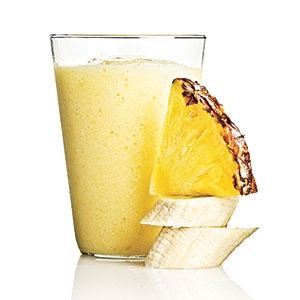 Pineapple Piña Colada  1/2 medium banana + 1/4 cup light coconut milk + 1 cup chopped fresh pineapple + 1/4 cup chilled pineapple juice + 1/2 cup crushed ice  203 CALORIES