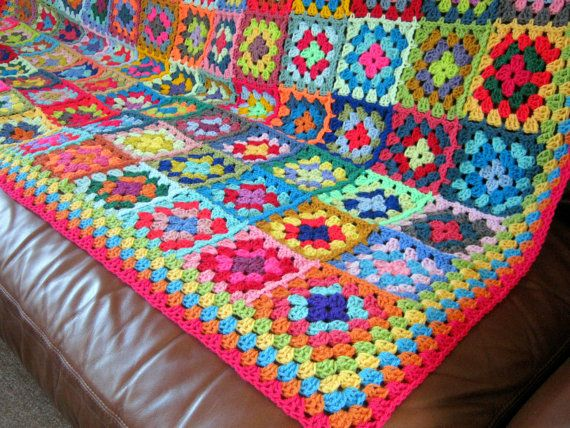 BLANKET Granny Squares Vibrant Crocheted Afghan by Thesunroomuk