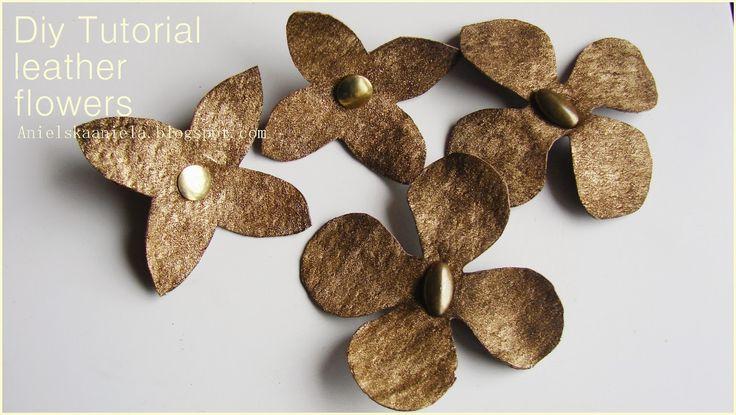 DIY TUTORIAL Leather flower inspired Burberry (flower template) skórzane kwiatki diy dodatki do butów,torebek biżuterii
