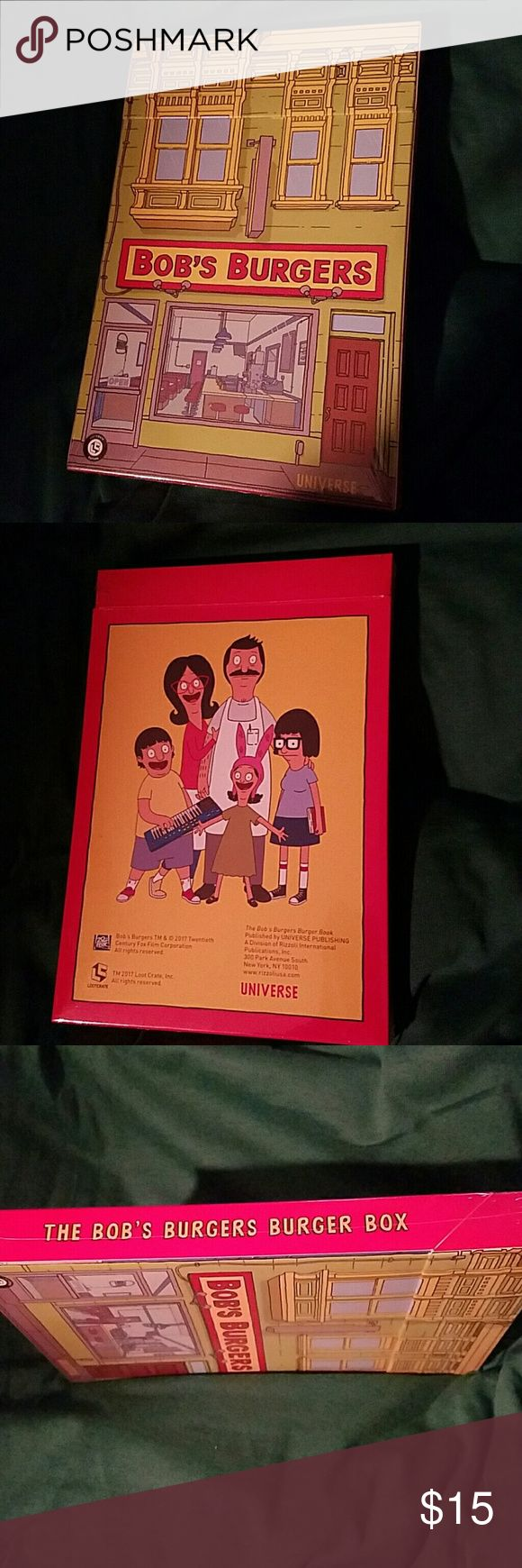 """The Bob's Burgers Burger Box BRAND-NEW One of our favorite parts of Bob's Burgers are the many """"Burgers of the Day"""" specials spiced with delicious puns. This is 25 hand-selected recipes (including vegetarian options) from the Bob's Burgers Cookbook! Printed on sturdy 5 ? 7 cards they come in a box designed to look like the restaurant. Penguin Random House Other"""