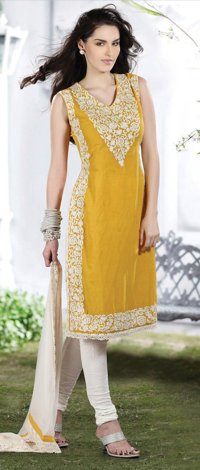 Mustard #Cotton Readymade #Churidar #Kameez @ $119.84