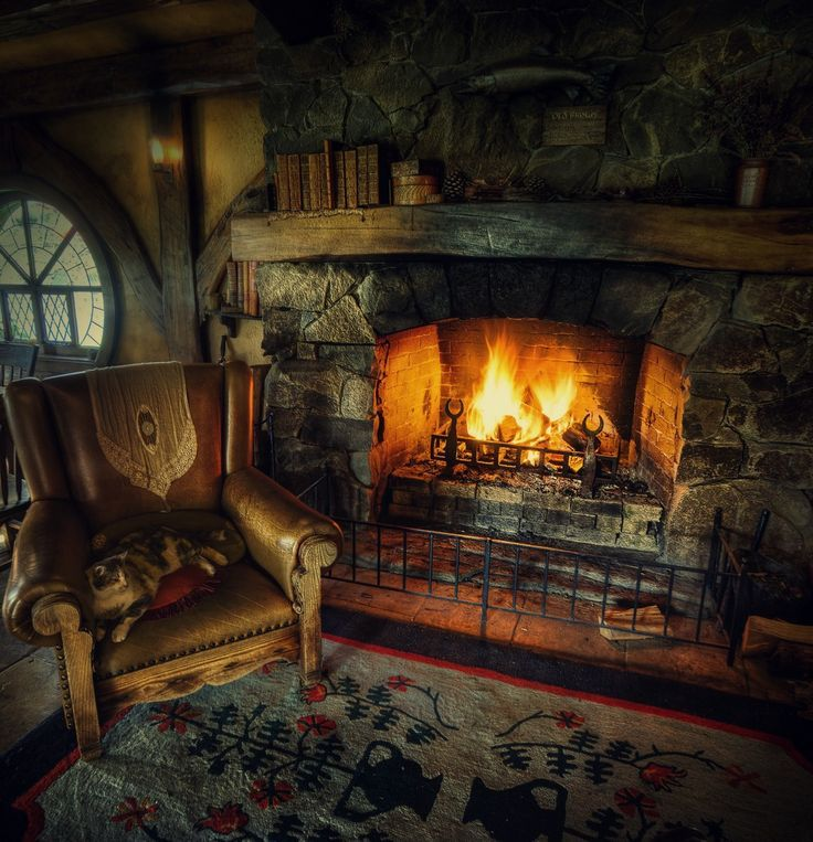 Cozy fireplace at the cabin