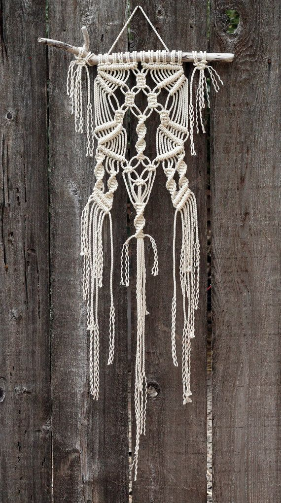 Macramé Wall Hanging on Drift Wood by FreeCreatures on Etsy