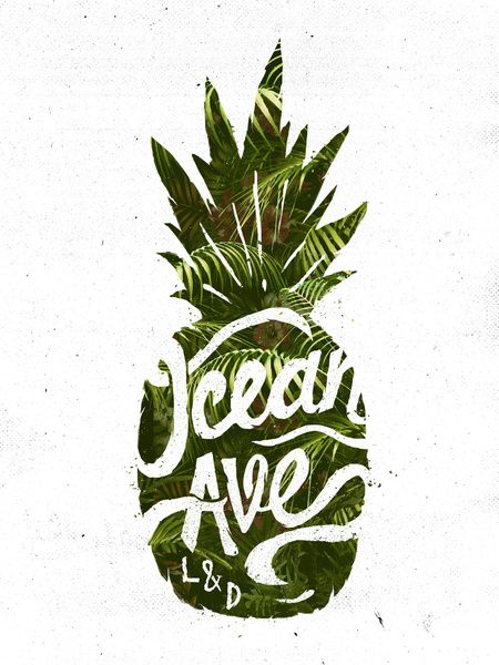 Ocean Ave Lettering and Design Pineapple Logo Art Print by Ocean Ave
