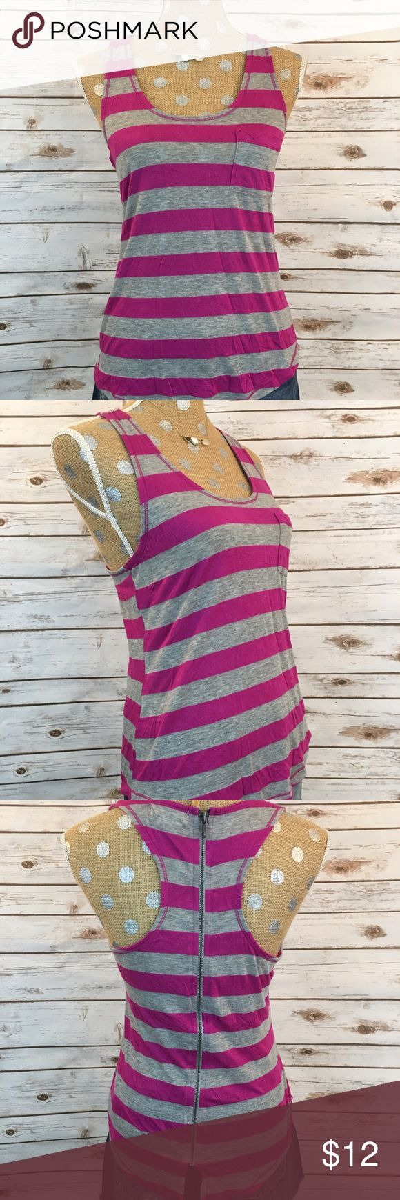 Purple & Gray Striped Zip Up Tank 🔮 Purple & Gray Striped Tank 🔮Zips Up The Back ❤️ Soft and stylish ♠️ 52% Polyester 38% Raylon 🎀 Great Condition 😍  🚫 NO TRADES 🌟 POSH Rules Only 🌟 🎉 Customized Bundle Discounts 💋 💗 Offers please use offer button below 🔻 OP Tops Tank Tops