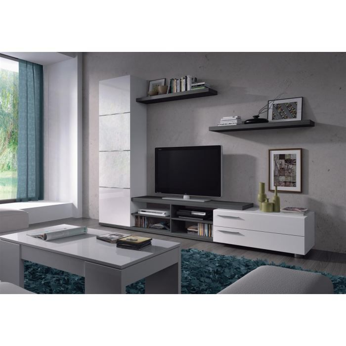 Meuble tv hi fi adhara meuble tv mural 240 cm blanc gris for Meuble mural palette