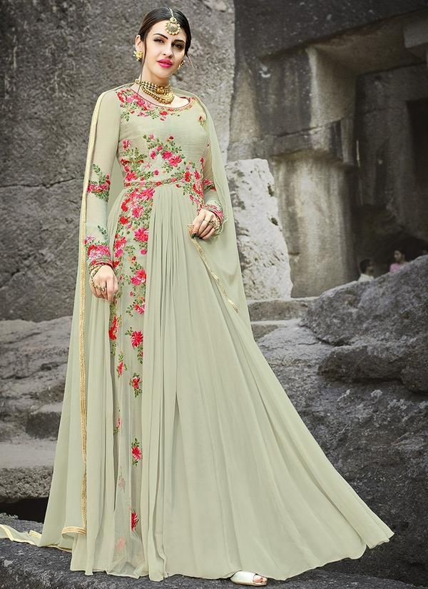 Faux Georgette Abaya Style Wedding Suit in Dusty Green
